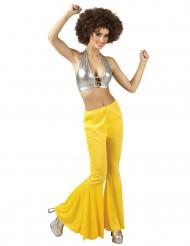 Pantalon disco jaune femme