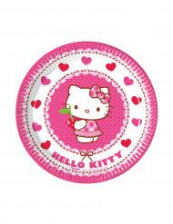 8 petites assiettes en carton Hello Kitty™ 19.5 cm
