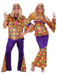 Déguisement de couple hippie fleuri adulte