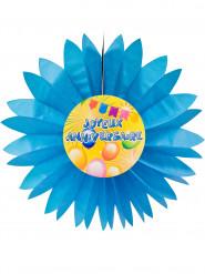 Eventail papier joyeux anniversaire Fiesta bleu 50 cm