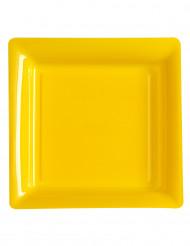 12 Assiettes carrées en plastique jaune 23.5 cm