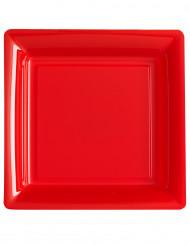 12 Assiettes carrées rouge 23,5 cm