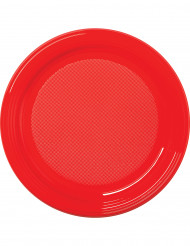 30 assiettes en plastique rouge 22 cm