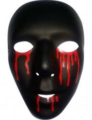 Masque noir avec larmes de sang homme Halloween