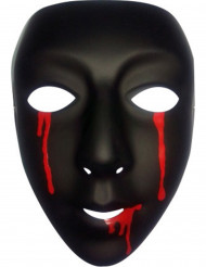 Masque noir avec larmes de sang femme Halloween