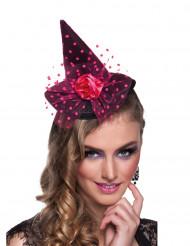 Mini chapeau sorcière rose femme Halloween