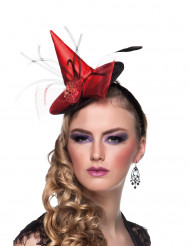 Mini chapeau socière rouge femme Halloween