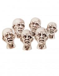 6 Petites têtes de zombies 8 x 5 cm Halloween