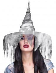 Chapeau sorcière déchue blanc femme Halloween