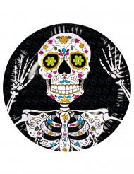 6 Assiettes en carton Dia de los muertos 23 cm