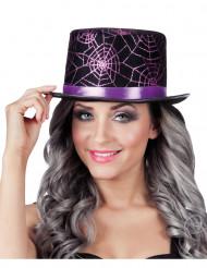 Chapeau haut de forme toile d'araignées violettes adulte Halloween