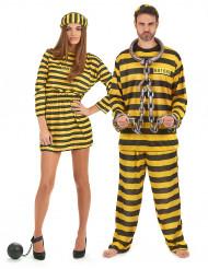 Déguisement de couple prisonnier jaune adulte