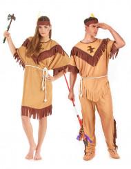 Déguisement de couple indien bicolore adulte