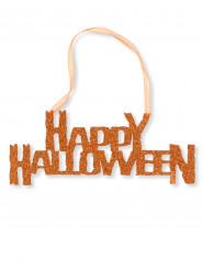 Décoration orange à paillettes Happy Halloween 31 cm