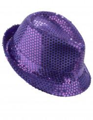 Chapeau borsalino à sequins violet adulte