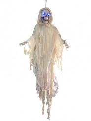 Décoration à suspendre lumineuse squelette blanc 150 cm Halloween