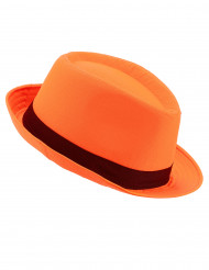 Chapeau borsalino orange bande noire adulte