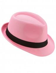Chapeau borsalino pink bande noire adulte