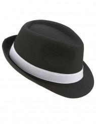 Chapeau borsalino noir bande blanche adulte