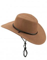 Chapeau cowboy marron en suede adulte