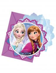 6 cartes d'invitation + enveloppes La Reine des Neiges Flocons™