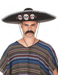 Sombrero noir Dia de Los Muertos, finitions argentées adulte