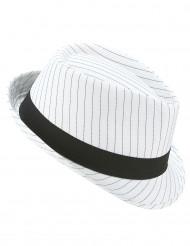 Chapeau borsalino blanc à rayures noires