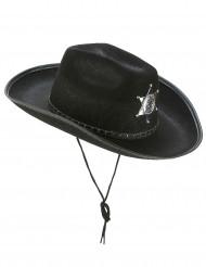 Chapeau Sherif noir adulte