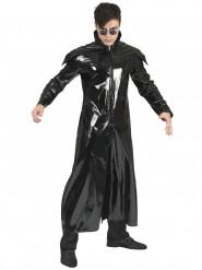 Veste longue faux cuir noir adulte