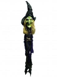 Décoration à suspendre lumineuse tête de sorcière 150 cm Halloween