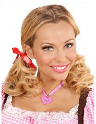Collier coeur bavarois rose femme Fête de la bière