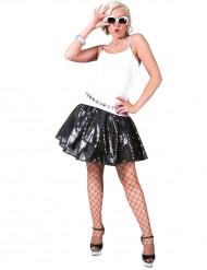 Jupe disco noire à sequins femme