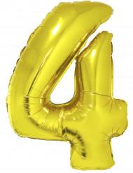 Ballon aluminium chiffre 4 doré 102 cm