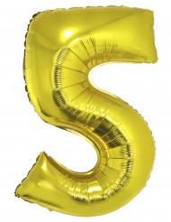 Ballon aluminium chiffre 5 doré 102 cm