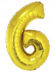 Ballon aluminium chiffre 6 doré 102 cm