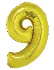 Ballon aluminium chiffre 9 doré 102 cm