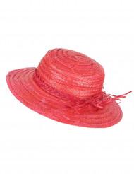Chapeau de paille vintage rouge femme