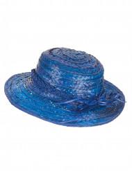 Chapeau de paille vintage bleu femme
