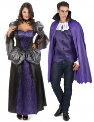 Déguisement de couple vampire violet Halloween