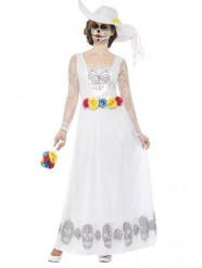 Déguisement mariée robe longue blanche femme Dia de los muertos