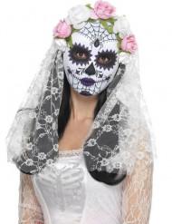 Masque squelette avec roses blanches adulte Dia de los muertos