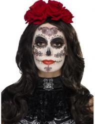 Kit maquillage glamour avec faux cils et bijoux femme Dia de los muertos