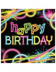 16 serviettes Happy birthday - Glow Party
