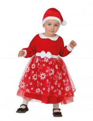 Déguisement princesse rouge avec flocons bébé Noël