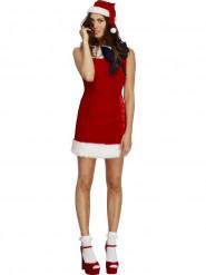 Déguisement robe rouge avec noeud noir sexy femme Noël