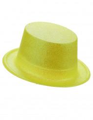 Chapeau haut de forme plastique pailleté jaune adulte
