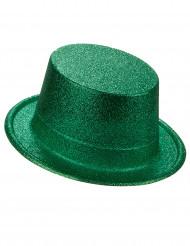 Chapeau haut de forme plastique pailleté vert adulte