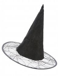 Chapeau de sorcière toile d'araignée noir adulte
