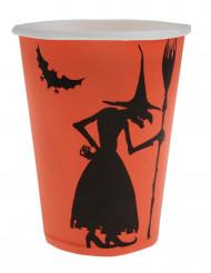10 Gobelets en carton sorcière Halloween