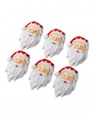 6 Père Noël 4cm adhésifs en résine